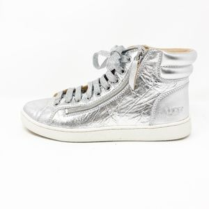 UGG Olive Metallic Silver High Top Sneakers 8